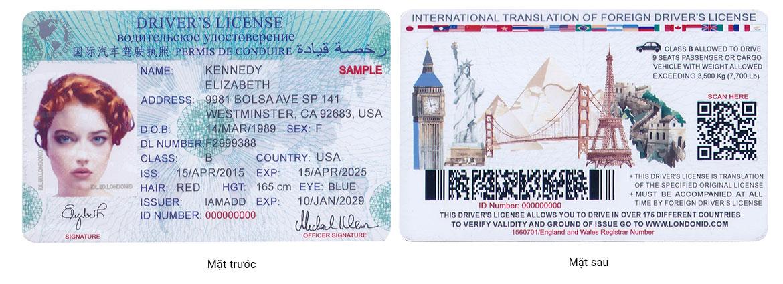 Mẫu bằng lái xe quốc tế IAMADD